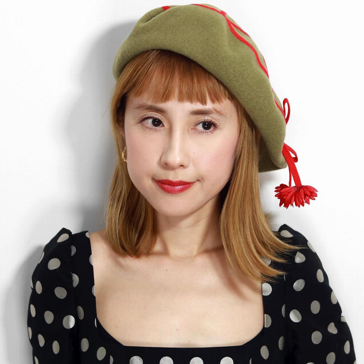 ベレー帽 クラシカル バラ色の帽子 コードベレー ウール 帽子 エレガント 日本製 秋 冬 Barairo no Boushi リボン 可愛い カーキ グリーン系 うすオリーブ [ beret ] プレゼント 帽子 母の日 ギフト 敬老の日