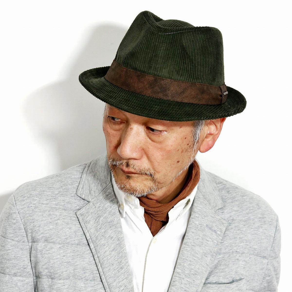 STETSON ハット メンズ コーデュロイ 中折れハット 紳士帽 渋い ハット メンズ 帽子 防寒 オリーブ[ fedora ]男性 プレゼント 帽子通販 父の日 贈り物 ラッピング無料