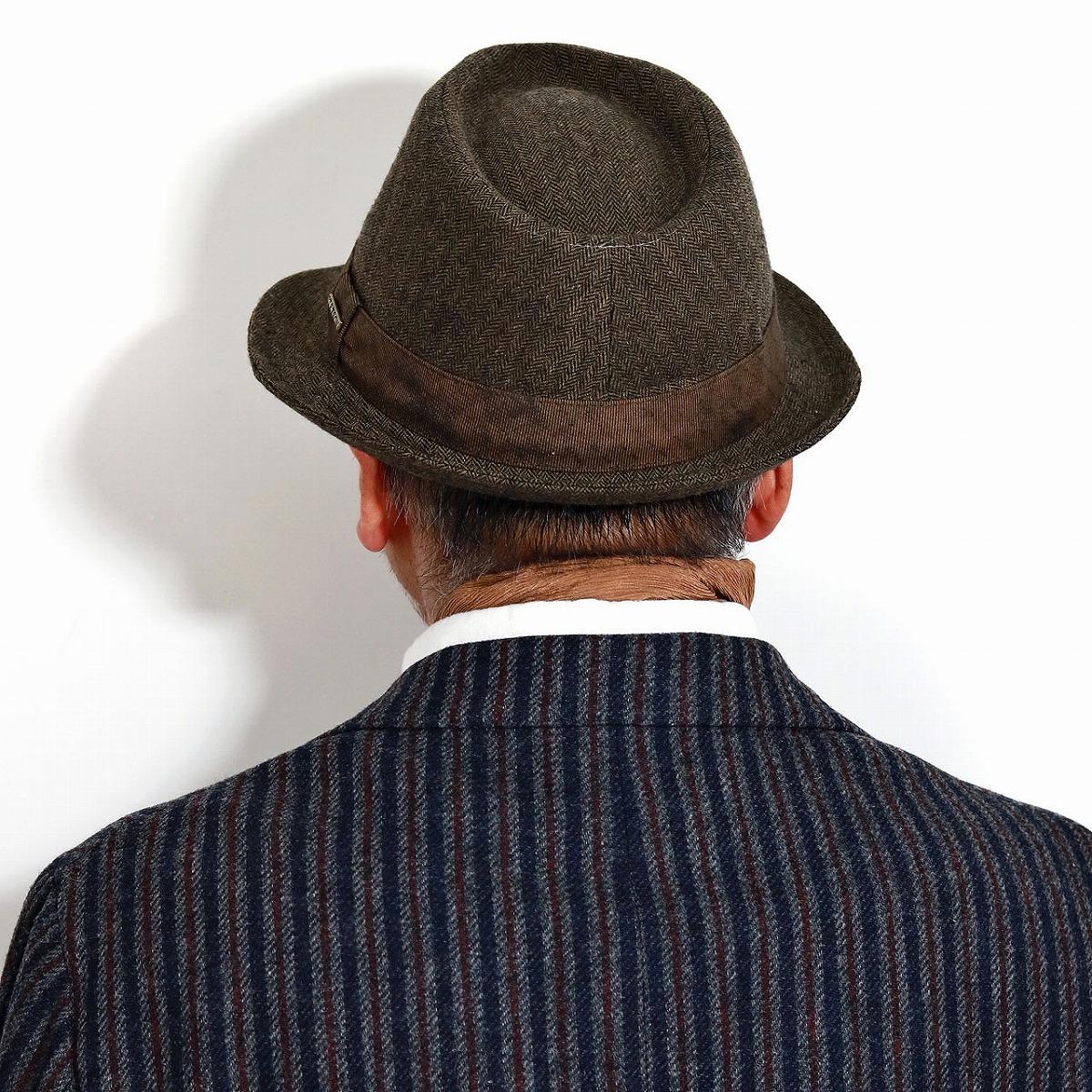 ダンディー 敬老の日 ブラウン 中折れ 男性 [ fedora ] ステットソン ラッピング無料 父の日 ハット シック 茶 紳士 ハット 帽子 帽子通販 紳士 ヘリンボーン柄 帽子 中折れハット 渋い プレゼント 贈り物 メンズ