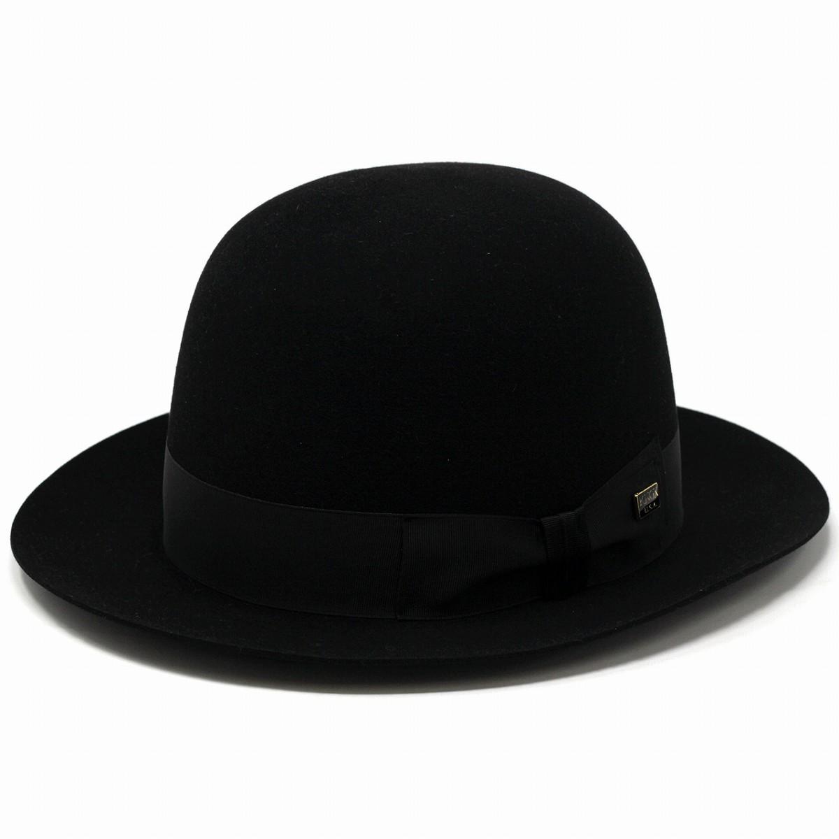 [ 最高級フェルト ビーバーファーフェルト使用 ] ボーラーハット KNOX 帽子 日本製 フェルト帽 紳士 ブランド フェルトハット オープンクランハット ノックス 中折れハット 黒 ブラック[ boater hat ][ felt hat ]クリスマス ギフト 誕生日 プレゼント 男性 帽子通販