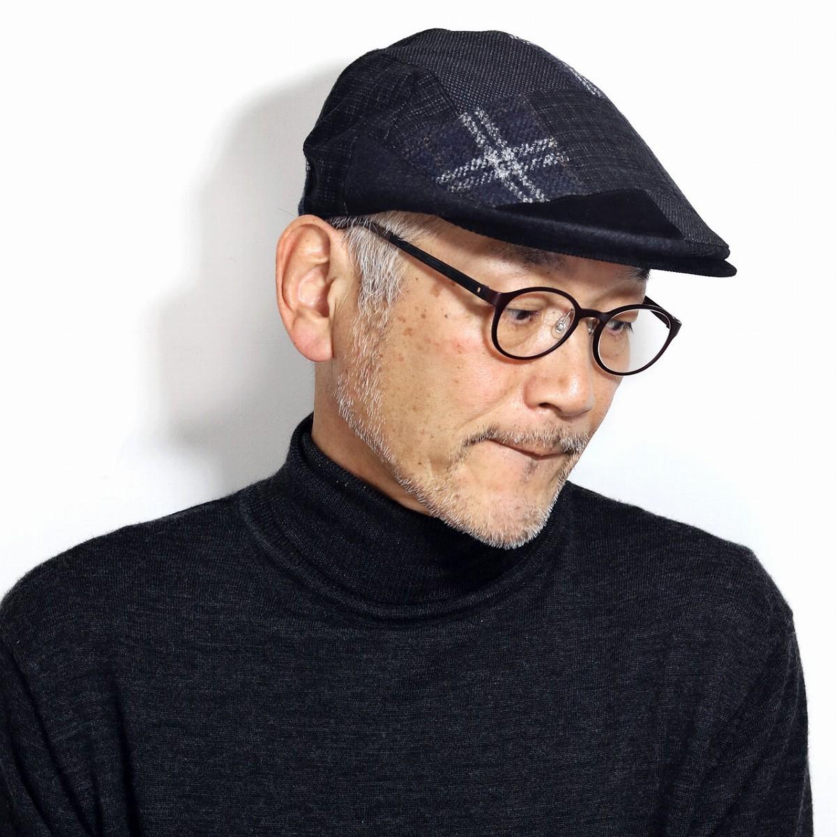ハンチング帽 メンズ 黒 チェック柄 ダックス 帽子 日本製 ハンチング フランネル ツイード パッチワーク イギリス ブランド DAKS ハンチングキャップ 紳士 S M L LL / ブラック[ ivy cap ]男性 誕生日 帽子 父の日 ギフト プレゼント