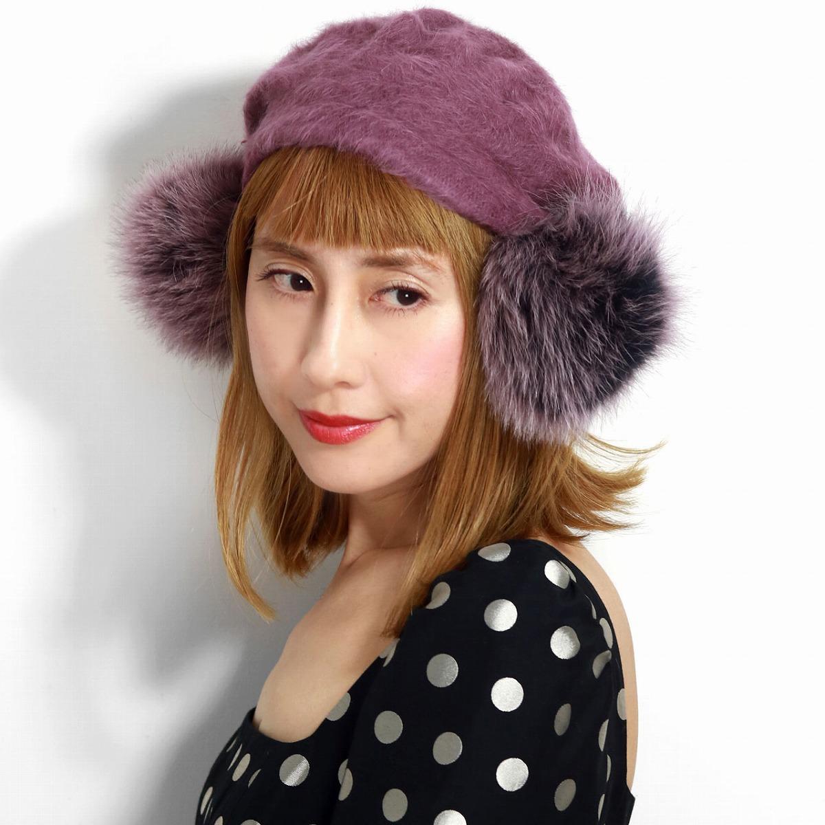 【バラ色の帽子】暖かくてふわふわなポンポン付きベレー帽 リアルファー 秋冬 帽子 レディース ベレー帽 Barairo no Boushi アンゴラ バラ色の帽子 ダブルポンポン アンゴラベレー あったかい 無地 ファー 可愛い ファーベレー パープル あずき [ beret ][ fur hat ]