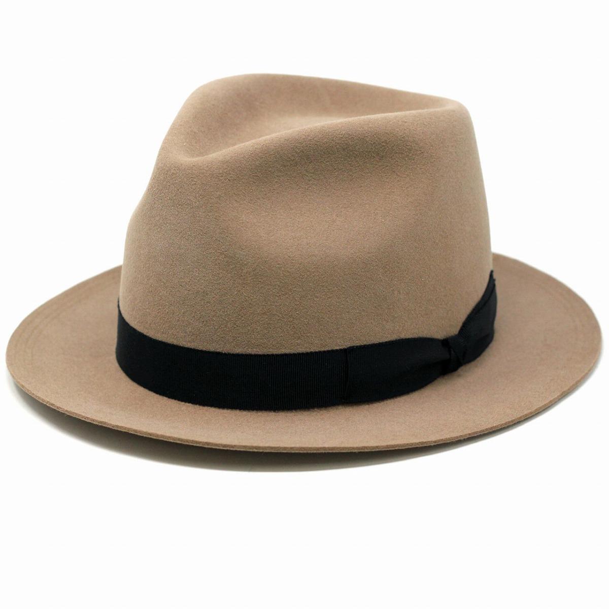 ラビットファー ウール ラカル フェルトハット 帽子 メンズ ショートベロア racal ハット メンズ ベロア フェルト ファー 秋 冬 リボン hat 中折れ帽 紳士 ベージュ[ fedora ][ felt hat ]
