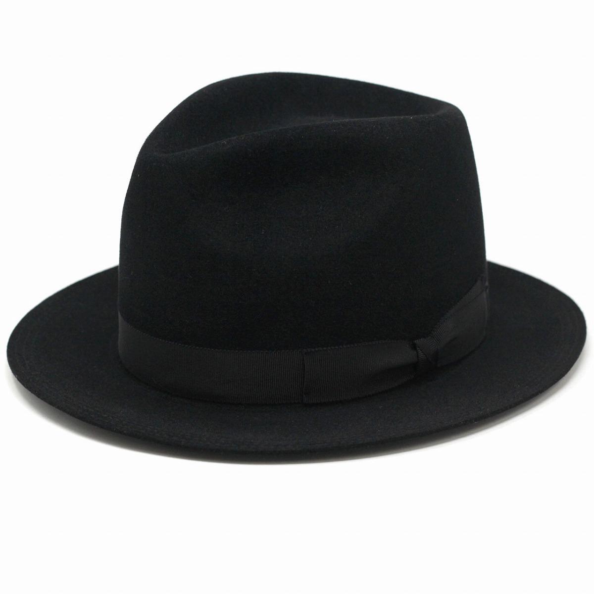 中折れ帽 ショートベロア racal 高品質 フェルトハット メンズ 高級 ラビット ファー ウール ラカル ハット 帽子 メンズ ベロア 切りっぱなし ハット 秋 冬 グログランリボン 黒 ブラック[ fedora ][ felt hat ]