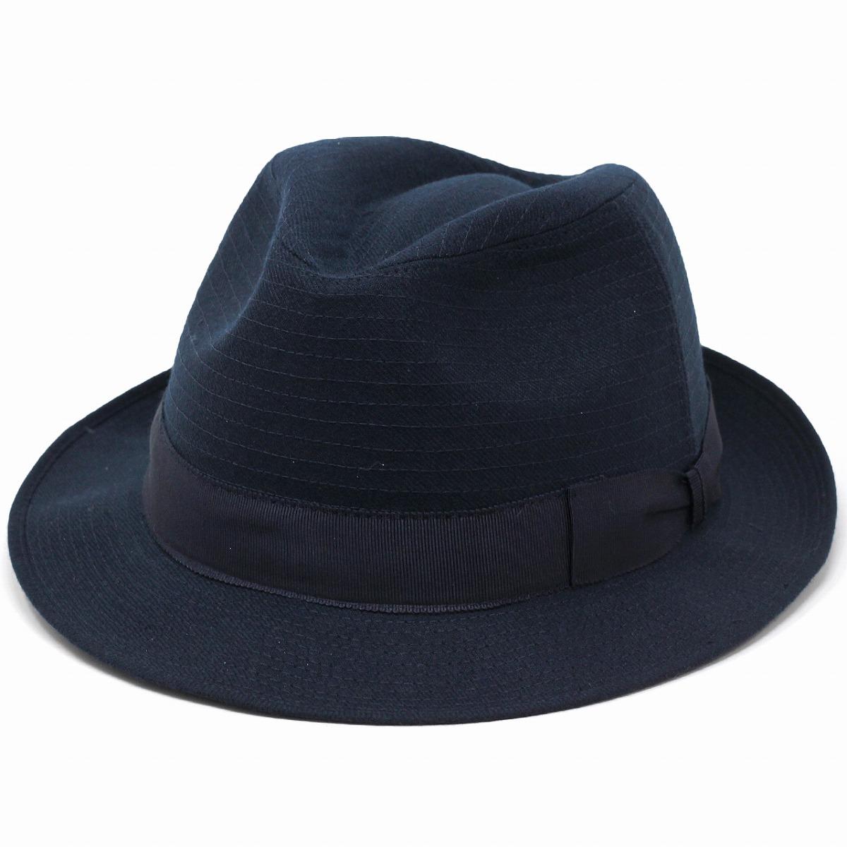 ウール ハット 中折れ 帽子 メンズ 秋冬 ユニセックス グログランリボン ピンストライプ マツイ 日本製 高品質 帽子 シンプル 無地 中折れハット 紺 ネイビー [ fedora ] 40代 50代 60代 70代 帽子屋 通販 ギフト包装無料