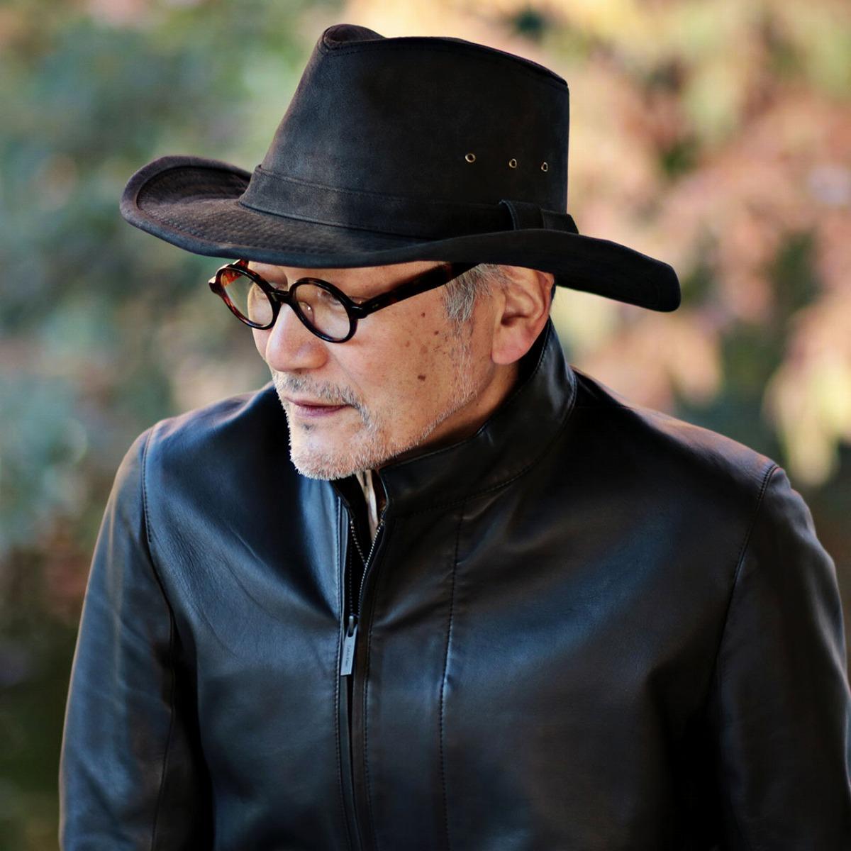 ドーフマンパシフィック 帽子 フェイクレザー ハット 秋冬 メンズ つば広 カウボーイハット レザー フェイク 大きいサイズ ワイヤー入りつば 黒 テンガロン アウトバック ハット 渋い 大人 小物 ブラック [ cowboy hat ]