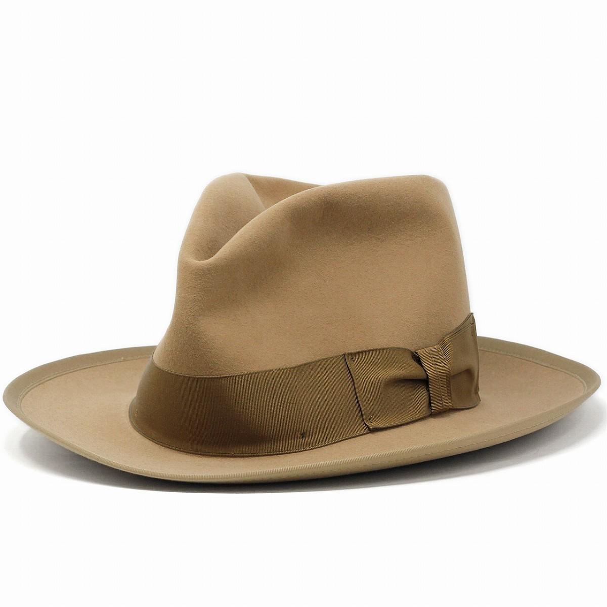 ステットソン ステットソニアン STETSONIAN オープンクラウンハット ダービーハット ビンテージステットソン 復刻モデル フェルト帽 アメリカ製 ボーラーハット ボーラーハット ファーフェルトハット 58cm 60cm / ベージュ [ felt hat ] [ derby hat ]