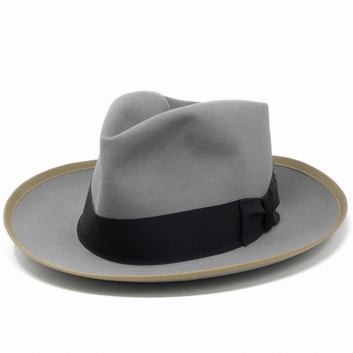 フェルトハット メンズ ブランド STETSON STETSONIAN オープンクラウンハット フェルト ビーバー ラビット ステットソン ヴィンテージ復刻 フェルト帽 アメリカ製 ダービーハット 58cm 60cm / ライトグレー [ felt hat ] [ derby hat ]