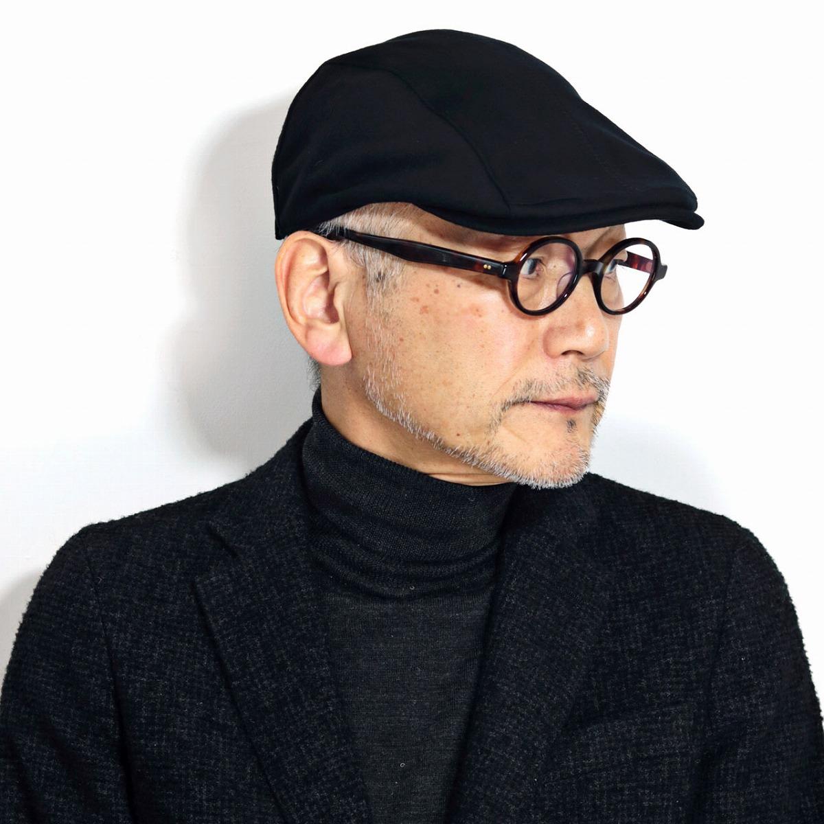 ハンチング帽子 スーパー180's DAKS ハンチング ウール100% 大きいサイズ 帽子 LLサイズあり ダックス メンズ アイビーキャップ 紳士帽子 秋冬 日本製 高品質 黒 ブラック[ ivy cap ]男性 誕生日 帽子 ギフト プレゼント ラッピング無料