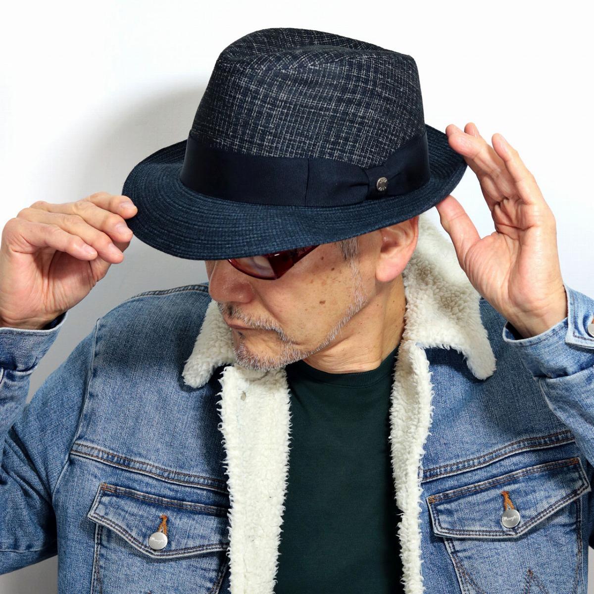 DAKS 中折れハット セントポール型 チェック 帽子 中折れ ダックス 秋冬 メンズ チェック柄 小物 中折れ帽子 紳士 暖かい 秋 冬 帽子 柄物 グログランリボン サイズ調整可能 紺 ネイビー[ fedora ]送料無料 男性 誕生日 帽子 父の日 ギフト プレゼント