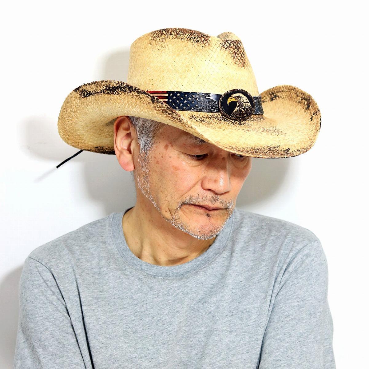 パナマハット メンズ 帽子 星条旗 イーグル テンガロンハット メンズ California Hat Company Inc. stampede hat つば広ハット メンズ カウボーイハット ウエスタン ティーステイン [ panama hat ] [ cowboy hat ] 帽子 日よけ つば広 麦藁帽子