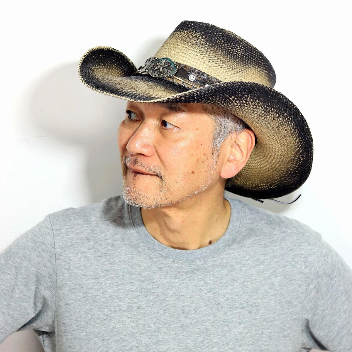 パナマハット メンズ 帽子 テンガロンハット California Hat Company Inc. stampede hat ハット メンズ カウボーイハット スタッズベルト 春 夏 スター ウエスタン パナマ帽 コロンビア製 ブラウンステイン[ panama hat ] [ cowboy hat ] 帽子 日よけ つば広 麦藁帽子