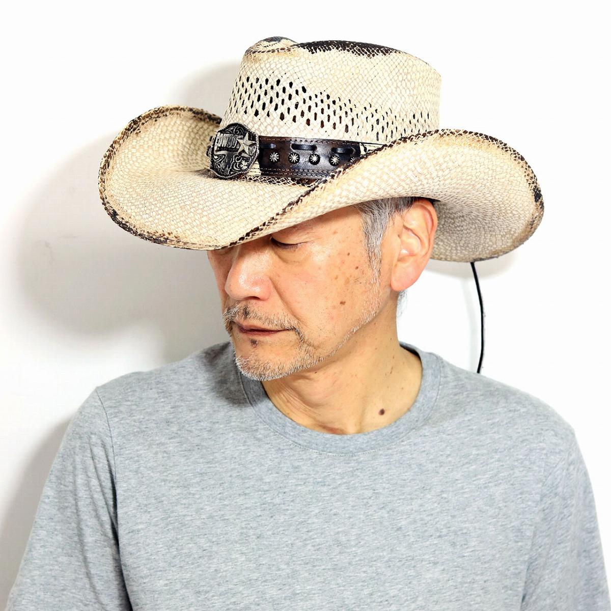 本パナマ カウボーイハット メンズ パナマハット レース入り コンチョ テンガロンハット バックル ストローハット California Hat Company Inc. stampede hat 乗馬 帽子 日除け ウエスタン つば広ハット ティーステイン [ panama hat ] [ cowboy hat ]