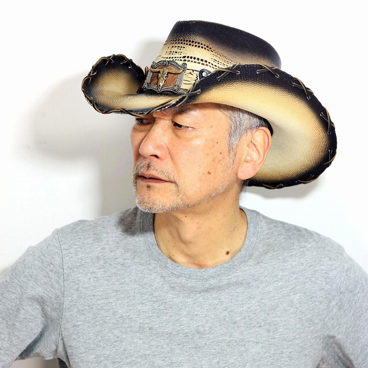 カウボーイハット バンゴラ メンズ California Hat Company Inc. ウエスタン ストローハット メンズ つば広ハット ロングホーン テンガロンハット バンゴラ草 グラデーションカラー ティーステイン [ straw hat ] [ cowboy hat ] 父の日 ギフト 帽子 男性 誕生日 プレゼント
