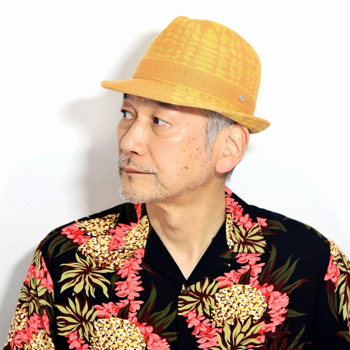 ミラショーン 帽子 メンズ 春夏 黄色 中折れハット 日本製 milaschon サマーニット ハット 中折れ帽 日本製 カラフル 中折れ帽子 紳士帽 Lサイズ サイズ調整可 イエロー [ alpine hat ]