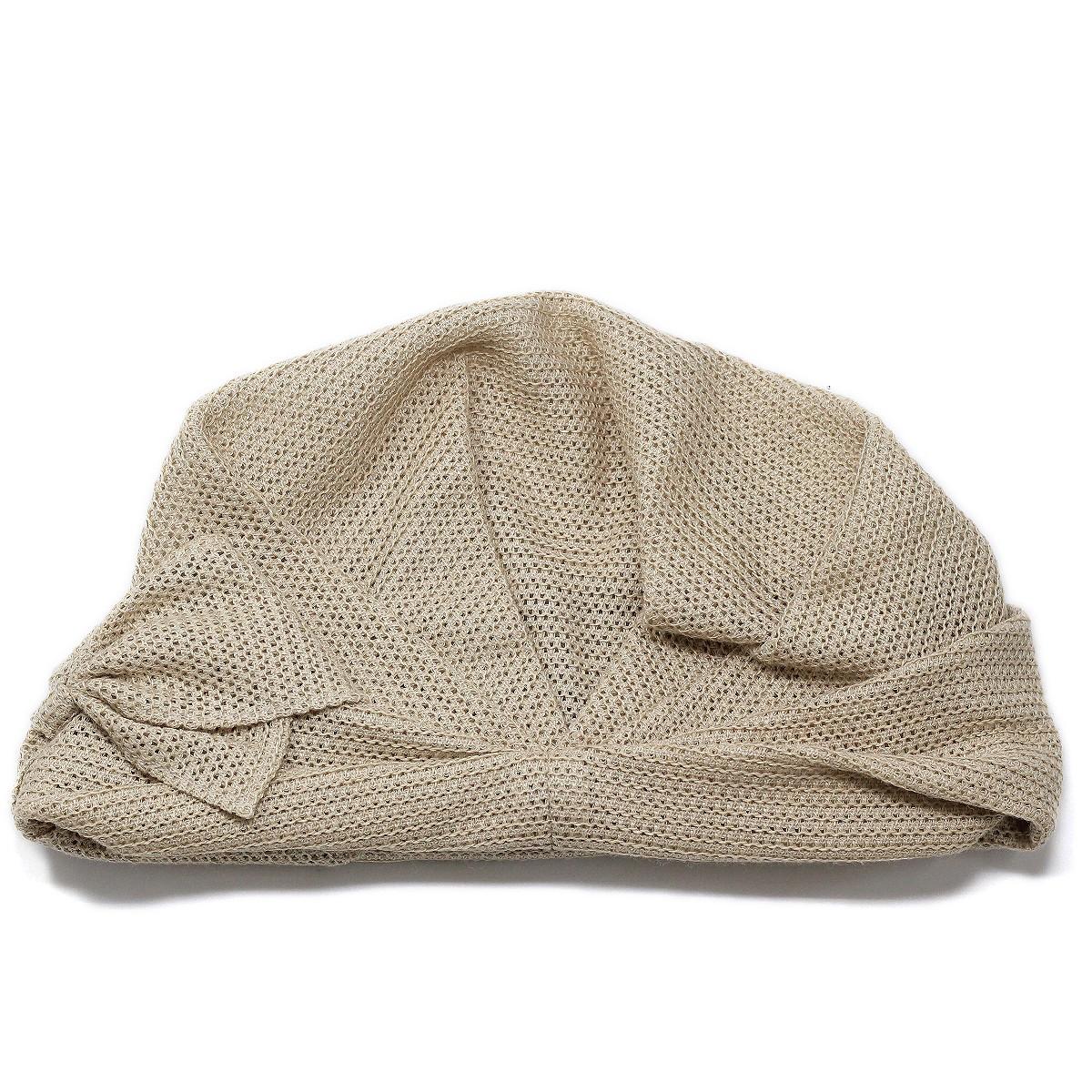 レディース ターバン 帽子 春夏 麻100ニット 春用 夏用 吸湿性の高い生地 ベージュ 婦人帽子 ミセスハット ニット帽 フリーサイズ 40代 50代 60代 70代 ファッション ベージュbeanie capturbanWYE29HDeIb