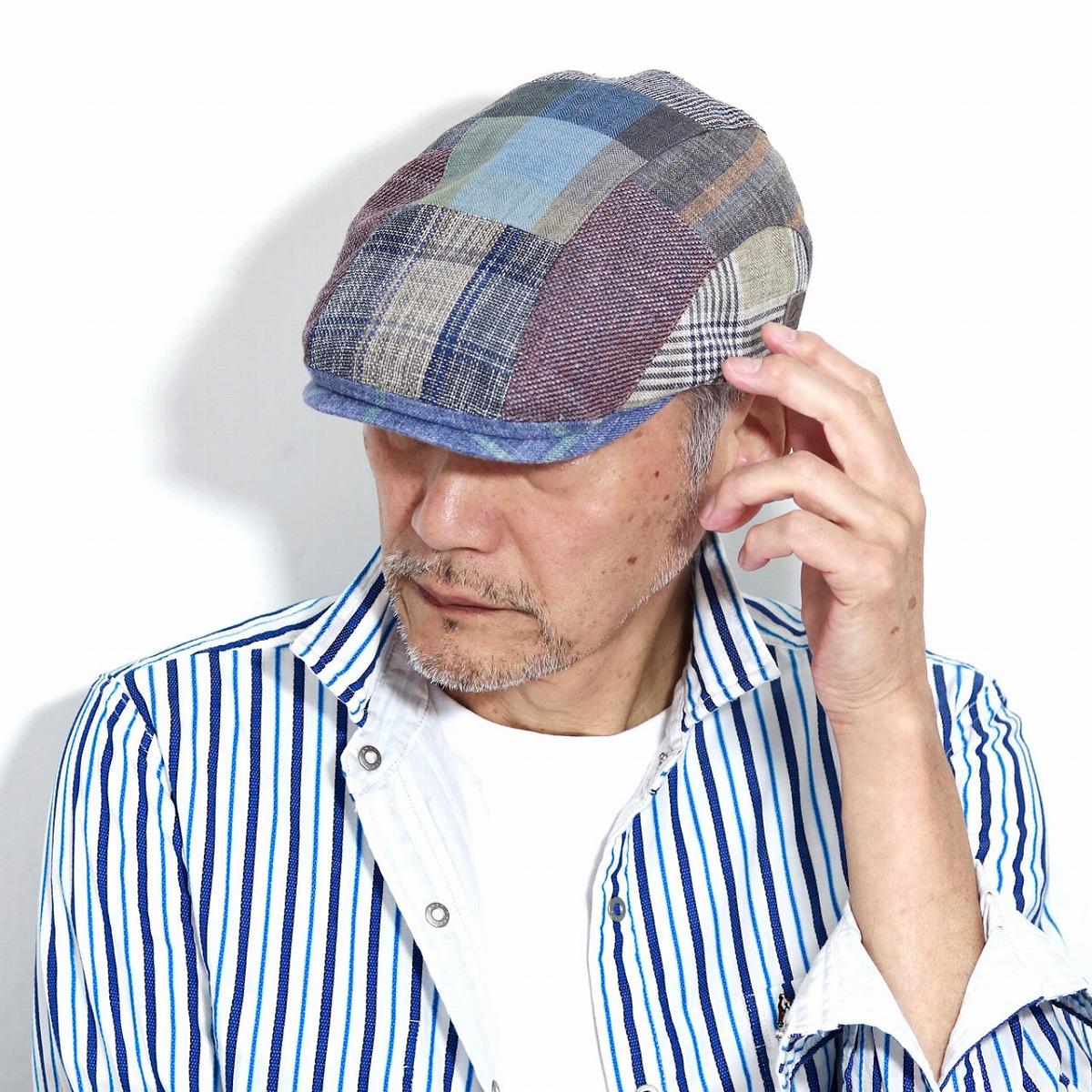 Gottmann ハンチング 大きいサイズ メンズ 帽子 パッチワーク 春夏 麻 綿 夏素材 涼しい ハンチング帽 総柄 Gottmann チェック柄 ゴットマン マルチ [ ivy cap ] 男性 プレゼント お父さん ギフト 誕生日 還暦祝い 帽子通販 男性 プレゼント