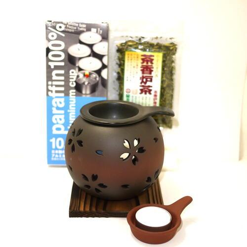 ほんのり茶の香りでリラクゼーション カテキン消臭 常滑焼 バースデー 記念日 ギフト 贈物 お勧め 値引き 通販 茶香炉セット 晶窯 彫さくら 日本製