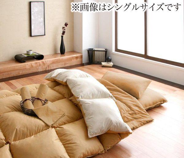 【送料無料】 布団セット ダブル 羽根 羊毛混 10点セット 床畳用 羽根布団 布団 極厚敷布団