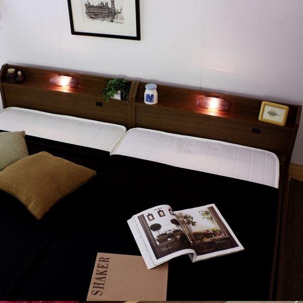 ベッド ワイドキング200 マットレス付き フロアベッド 連結 国産 ベッドフレーム コンセント 宮付き 照明 おしゃれ ローベッド 日本製 強化 ハード ボンネルコイル マット マットレス キング キングサイズ ファミリーベッド 200cm