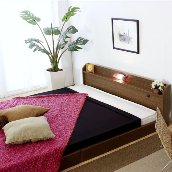ベッド ダブル マットレス付き フロアベッド 国産 ベッドフレーム コンセント 宮付き 照明 おしゃれ ローベッド SGマーク付き 体圧分散 マット 日本製 ポケットコイル マットレス ブラウン 白 黒 ダブルベッド