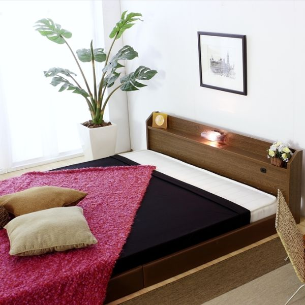 ベッド シングル マットレス付き フロアベッド 国産 ベッドフレーム コンセント 宮付き 照明 おしゃれ ローベッド SGマーク付き 体圧分散 日本製 ポケットコイル マット マットレス ブラウン 白 黒 シングルベッド