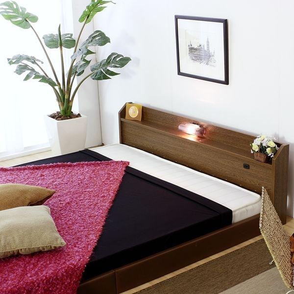 ベッド セミシングル マットレス付き フロアベッド 国産 ベッドフレーム コンセント 宮付き 照明 おしゃれ ローベッド ボンネル 日本製 強化 ハード ボンネルコイル マット マットレス ブラウン 白 黒 セミシングルベッド