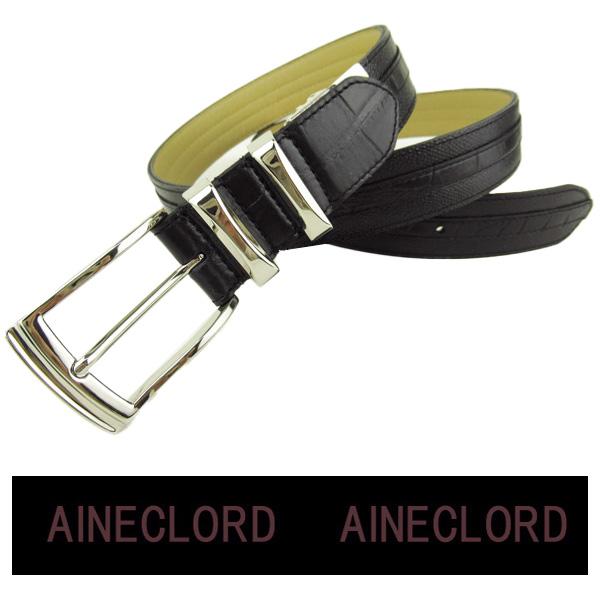 購入 送料無料 アイネックロード お見舞い メンズ ロング 牛革ベルト be964013-35 AINECLORD 黒 ギフト包装無料 最長117cm