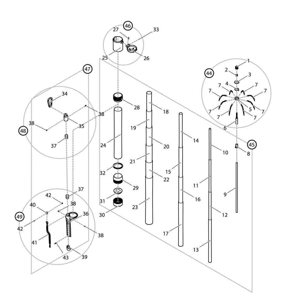 【部品】 シャフトセット GM (40052) パーツNo.45 [第一精工 オートキングギャフCS300 ガンメタ]