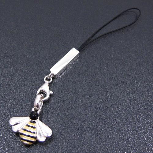 シルバー携帯ストラップ ミツバチ エナメル彩色 イニシャル刻印(別料金)