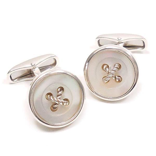 ベルフィオーレ カフスボタン カフリンクス シルバー925 丸型ボタン風 白蝶貝 BELFIORE インポート