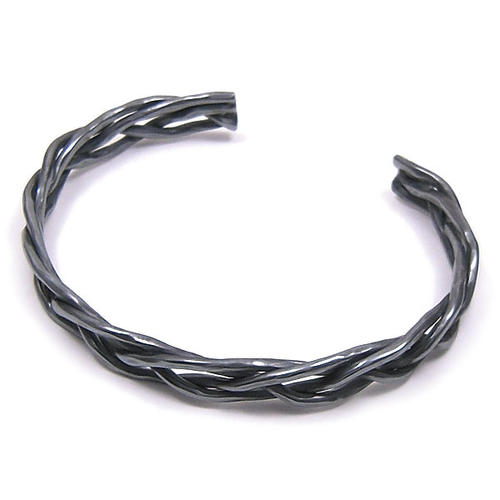 シルバーバングル メンズ 四つ編み いぶし銀