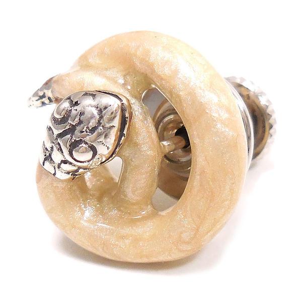 サツルノ ピンブローチ ラペルピン シルバー925 巻きヘビ ホワイト エナメル彩色 SATURNO インポート