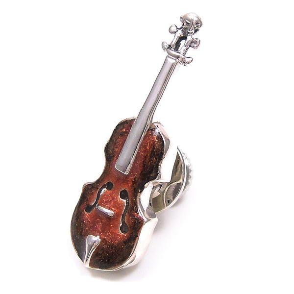 サツルノ ピンブローチ ラペルピン シルバー925 楽器 バイオリン エナメル彩色 SATURNO インポート