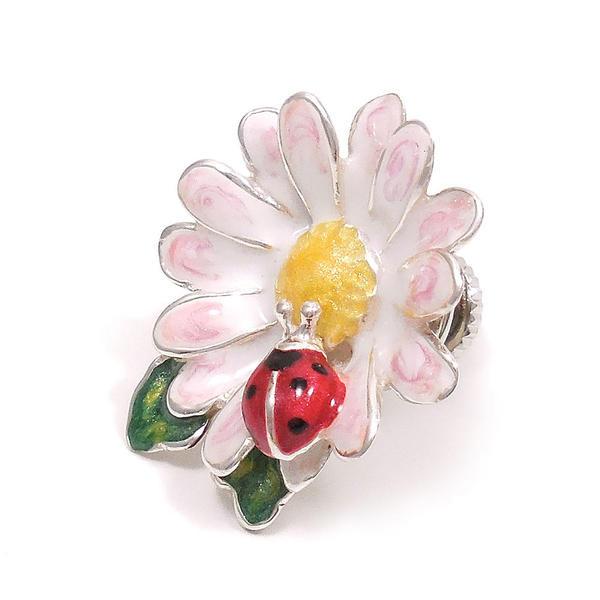ピンブローチ ラペルピン シルバー925 てんとう虫 花 エナメル彩色 イタリア製 サツルノ インポート メンズ レディース
