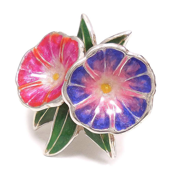 ピンブローチ ラペルピン シルバー925 花 フラワー 朝顔 ピンク/紫 エナメル彩色 イタリア製 サツルノ インポート メンズ レディース