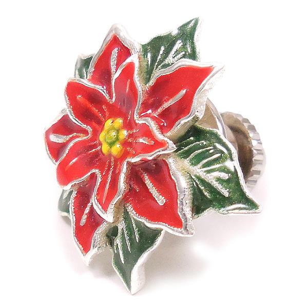 ピンブローチ ラペルピン シルバー925 花 フラワー ポインセチア エナメル彩色 イタリア製 サツルノ インポート メンズ レディース