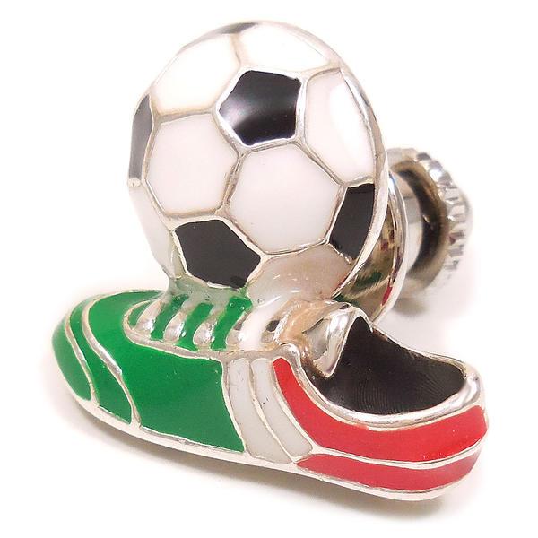 ピンブローチ ラペルピン シルバー925 サッカーボール スパイク イタリアカラー エナメル彩色 イタリア製 サツルノ インポート メンズ レディース