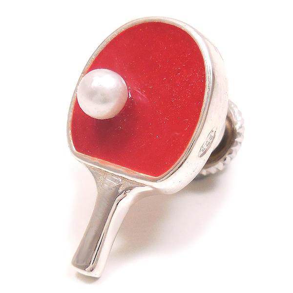 ピンブローチ ラペルピン シルバー925 卓球 ラケット レッド エナメル彩色 イタリア製 サツルノ インポート メンズ レディース