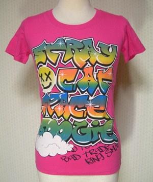 半袖 Tシャツ 直営ストア レディス 身頃前後に プリントT 特別価格 ウォールアート セール特別価格 プリント :M 天竺 ピンク プリントTシャツ 綿100% ピッタリフィット系前後プリント半袖Tシャツ 半袖Tシャツ