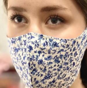 送料無料 軽量ストレッチ 可愛い花柄 ファッション マスク #5:小花: レディス サバイバル対策 メンズ 格安激安 高級品 オフ白×ブルー 洗えるマスク