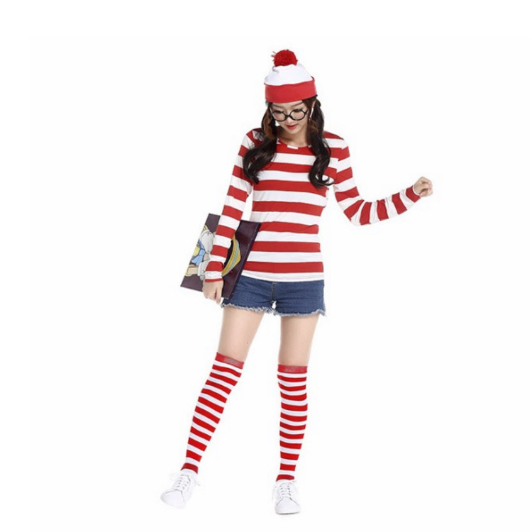 wally border character men women fancy dress costume halloween halloween wedding parties entertainment party new years party at welcome party farewell red