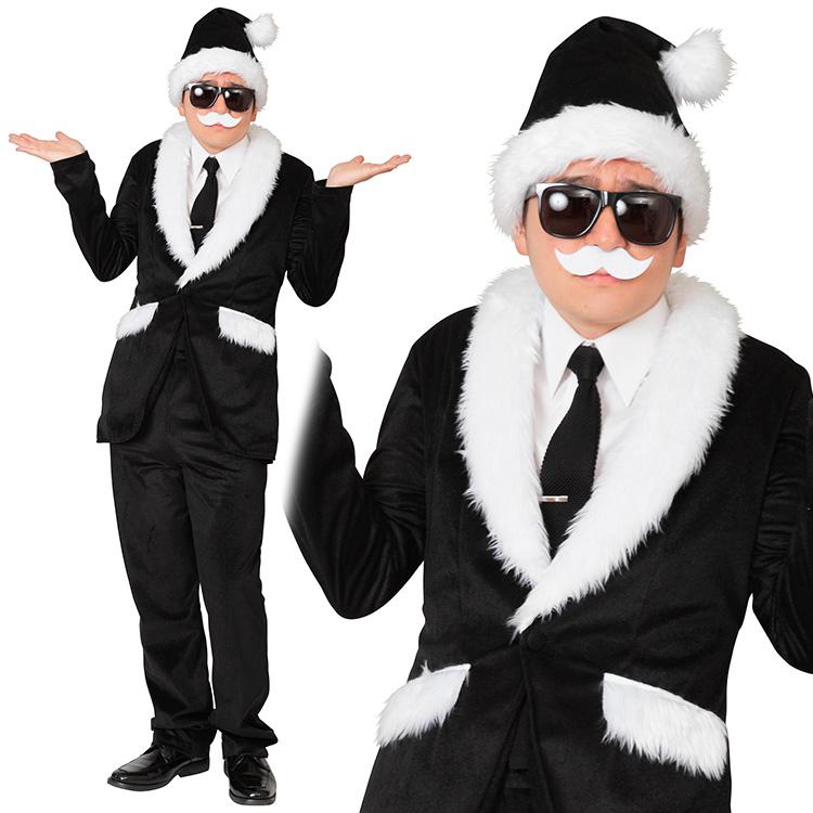【クリスマス コスプレ サンタ】XM スタイリッシュサンタ 黒【送料無料】衣装 忘年会 パーティー イベント コスチューム 出し物 歓迎会 送迎会 クール ポップ コーディネート サンタクロース