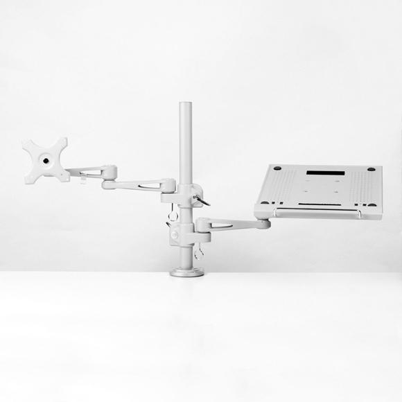 ノートパソコン&サブモニター用ダブルアーム MARMGUS3360S ノートパソコン台,27インチモニタ,モニターアーム