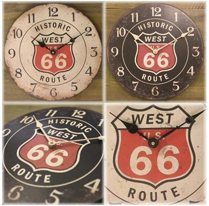 レジェクション Cafe Clock Route 66 When Total U.S. Time Design Cafe Black And  White Wall