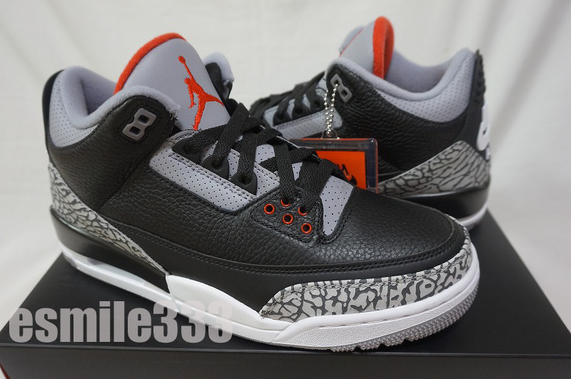 reputable site a8193 a942b NIKE AIR JORDAN 3 RETRO OG BLACK CEMENT Air Jordan 3 nostalgic black cement  black US9.5/27.5cm/ sneakers with the domestic article black tag