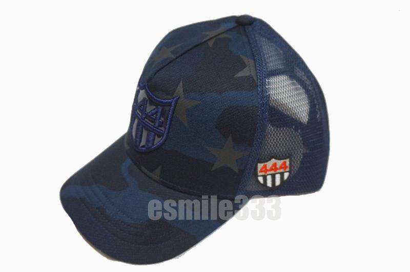 ヨシノリコタケxBARNEYS NEWYORK(バーニーズ ニューヨーク) 444ロゴ エナメル メッシュキャップ (CAP) 紺スター柄 迷彩