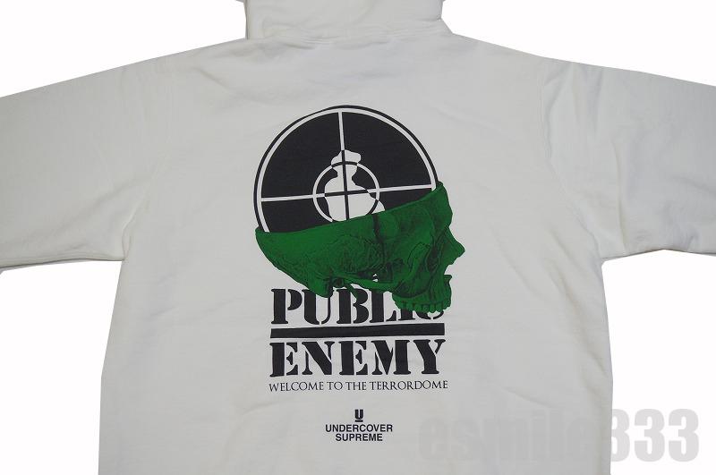 〓新古品・未使用品〓国内品 Supreme(シュプリーム)xUNDERCOVER Public Enemy Terrordome Hooded Sweatshirt 白 サイズ(L) パーカー シュプリーム アンダーカバー 18ss パブリックエナミー 【中古】