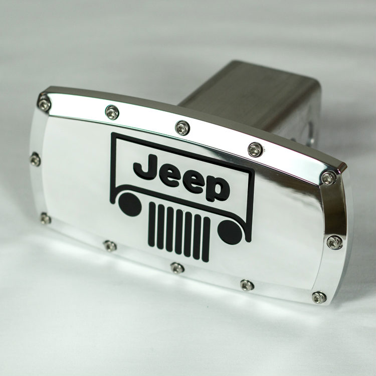 【Jeep】ジープロゴ クロームヒッチカバー [ラングラー]ヒッチメンバーにクライスラー カスタムパーツ