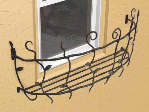フラワーボックス 壁飾り ロートアイアンフラワーボックス(幅2000mm)オリジナル 壁飾り 窓手すり エクステリア 防犯
